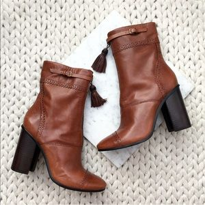 Tory Burch Huxley Camel Brown Heeled Ankle Boots